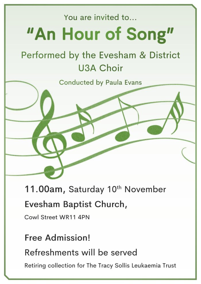 A4 Poster for the U3A Choir Performance