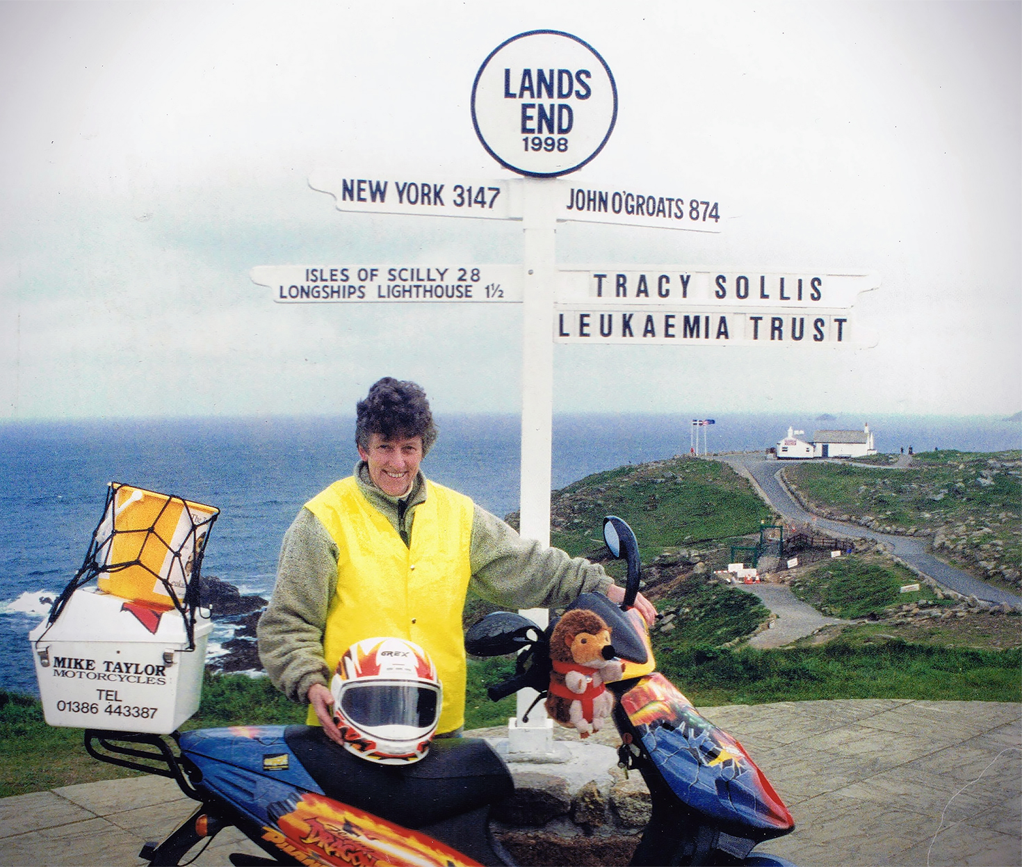 Sue Sollis at Lands End with Harry Hedgehog