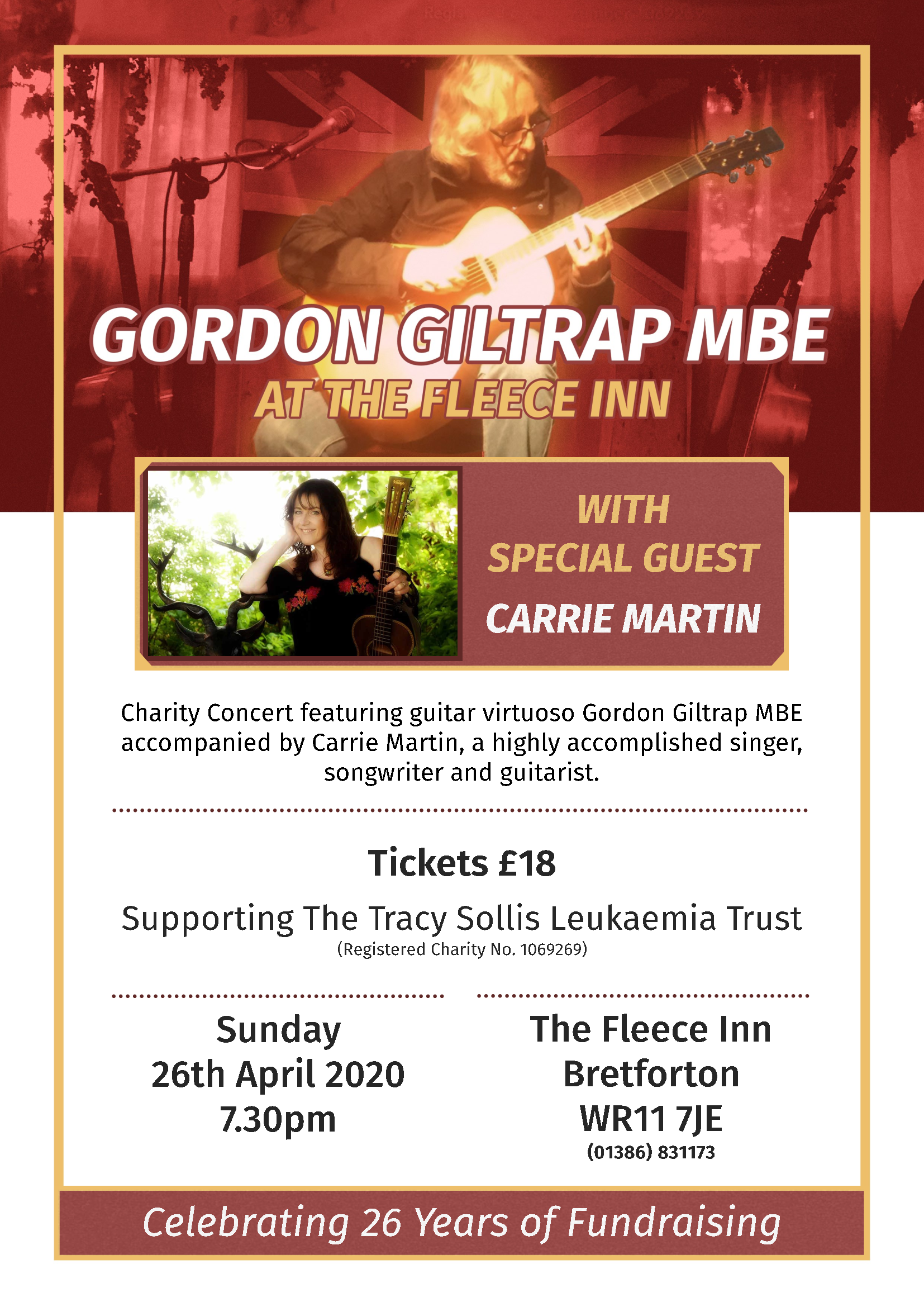Tickets Now Available! – Gordon Giltrap MBE & Carrie Martin at the Fleece Inn